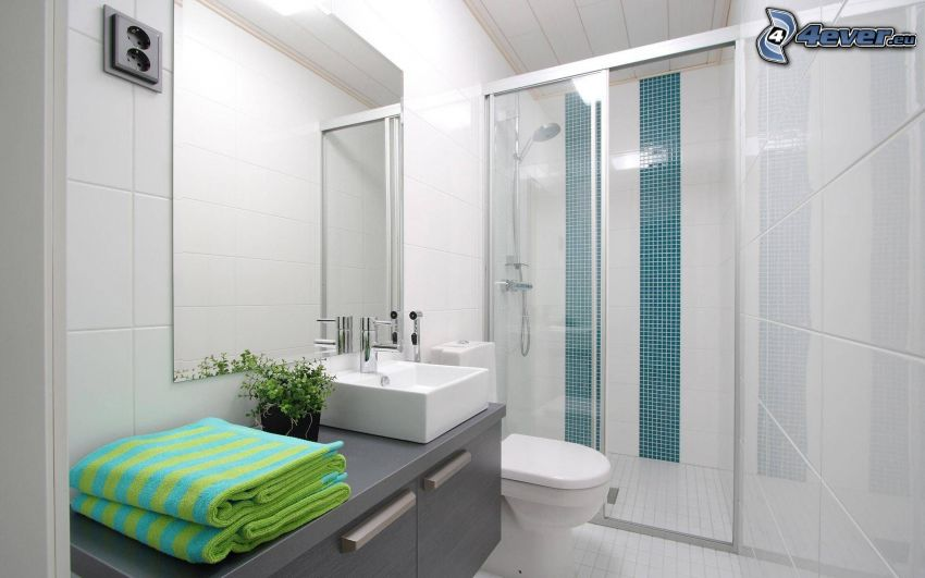 badrum, hörndusch, handfat, spegel, handdukar