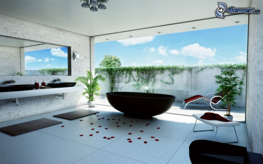 badrum, lyx, fönster, rosenblad