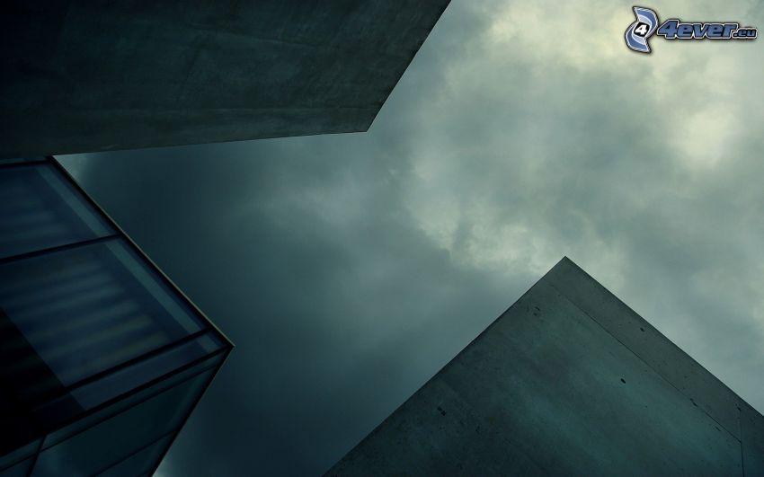 byggnader, moln