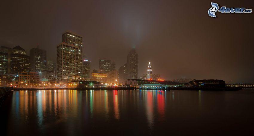 byggnader, natt, flod, belysning