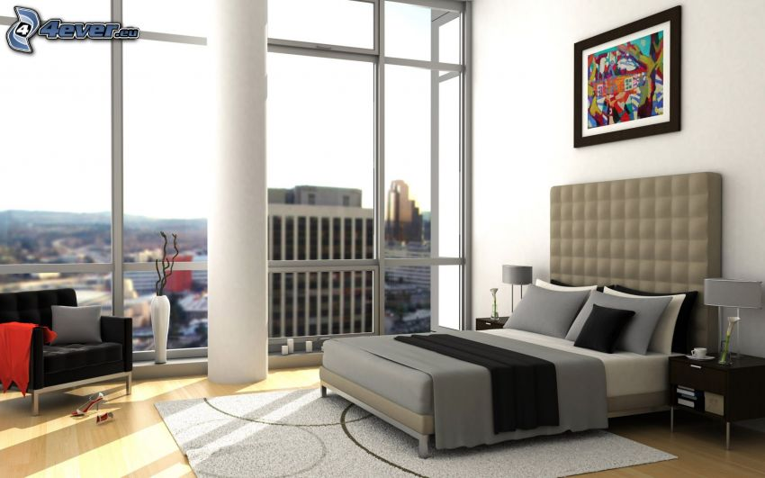 dubbelsäng, sovrum, fåtölj, utsikt, bild