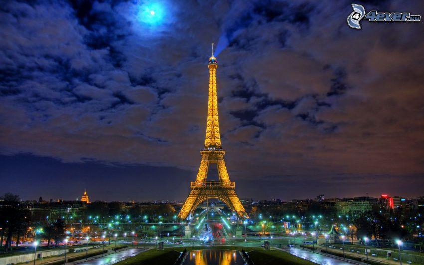 Eiffeltornet, moln, HDR