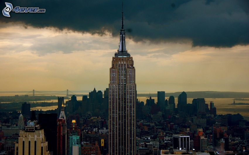 Empire State Building, skyskrapa, New York, USA, moln, stadsutsikt