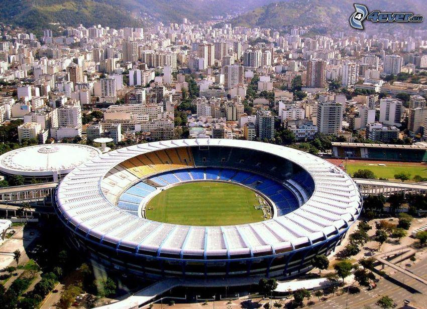 fotbollsstadion, Rio De Janeiro, Brasilien, stadsutsikt, hus