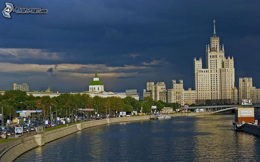 hotel, Moskva, Ryssland, flod