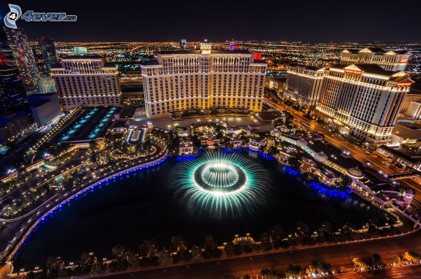 hotel Bellagio, Las Vegas, fontän, nattstad