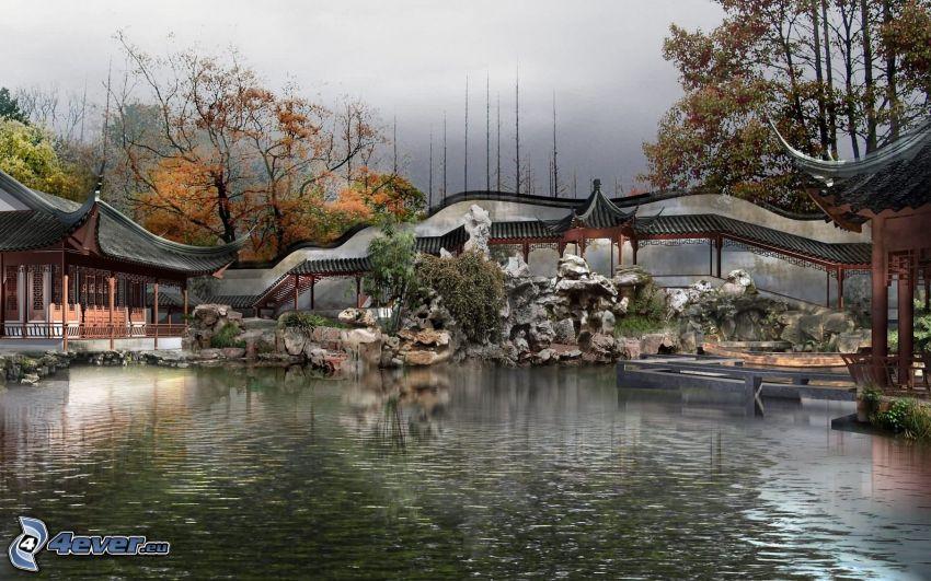 kinesiskt hus, sjö