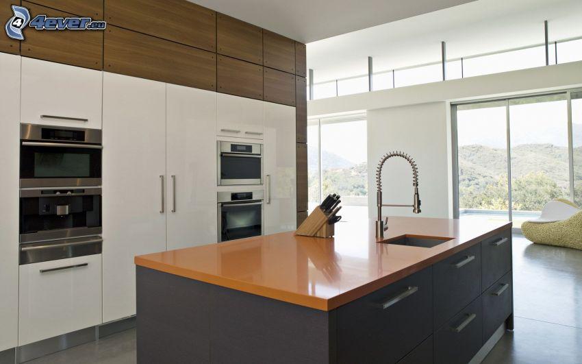 kök, handfat, fönster