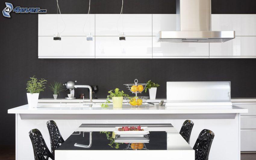 kök, svart och vitt