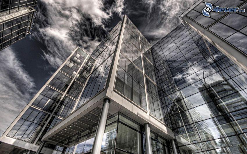 kontorsbyggnad, moln, HDR