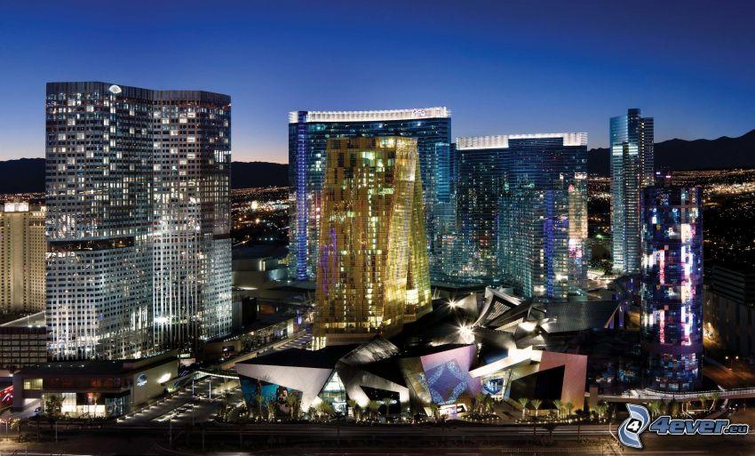 Las Vegas, skyskrapor, stadscentrum, kvällsstad