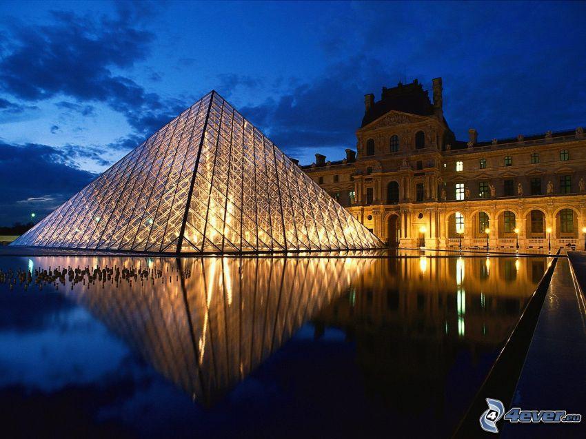 Louvre, Paris, glaspyramid, museum, himmel
