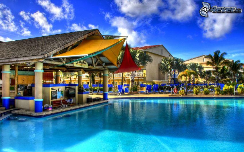 lyxigt hus, bassäng, palmer, HDR