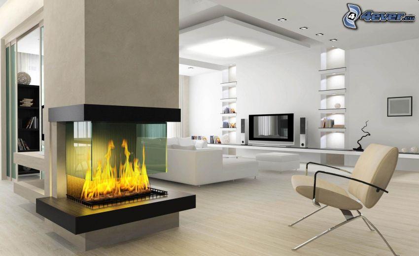 lyxigt vardagsrum, eldstad, möbler