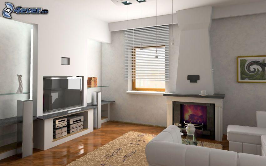 lyxigt vardagsrum, eldstad, TV