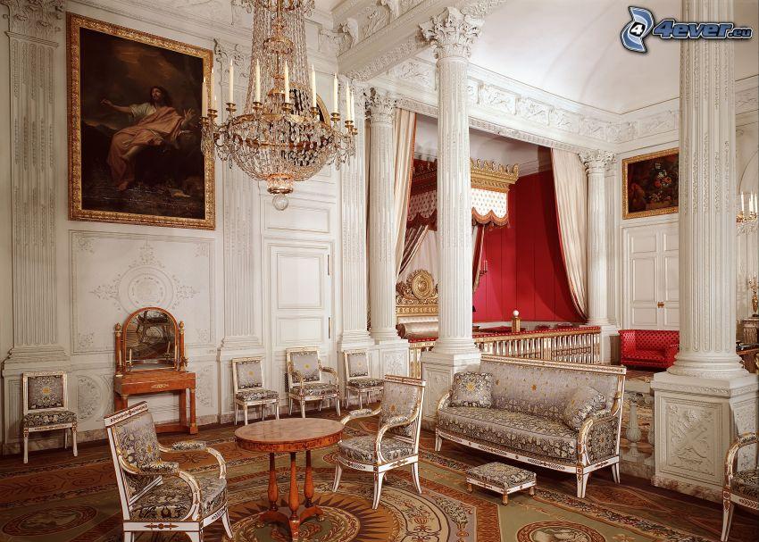 lyxigt vardagsrum, fåtöljer, bild, lampa
