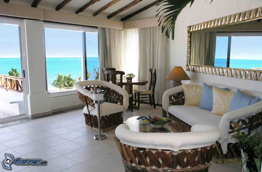 lyxigt vardagsrum, havsutsikt, soffa
