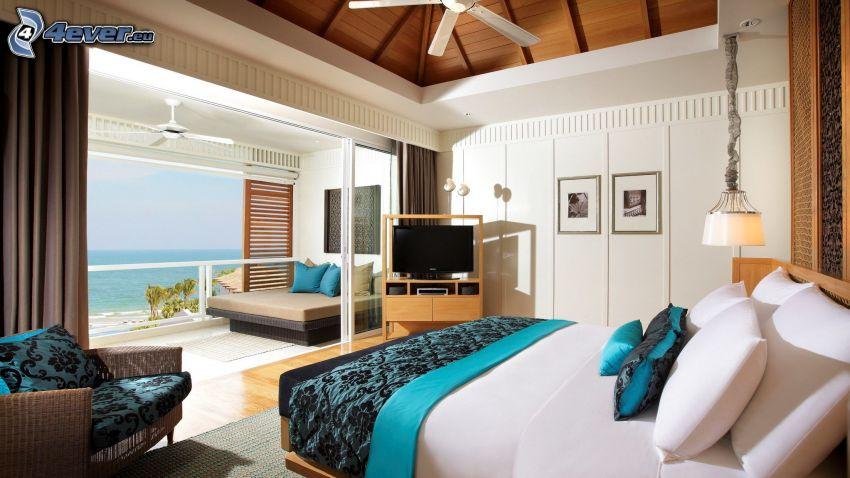 lyxigt vardagsrum, havsutsikt