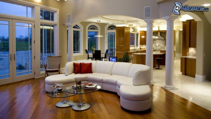 lyxigt vardagsrum, interiör