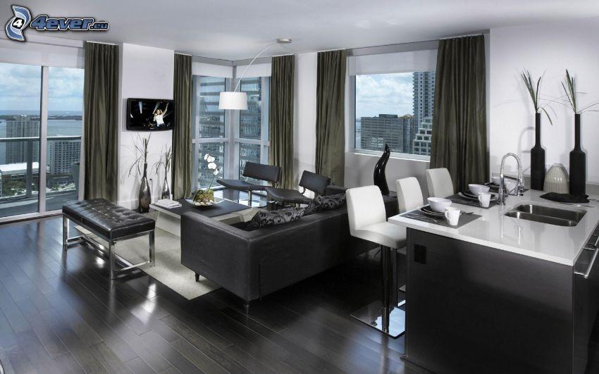 lyxigt vardagsrum, möbler, stadsutsikt