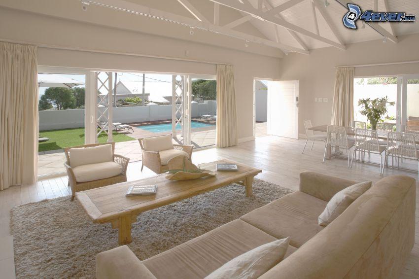 lyxigt vardagsrum, säte, fåtöljer, bassäng
