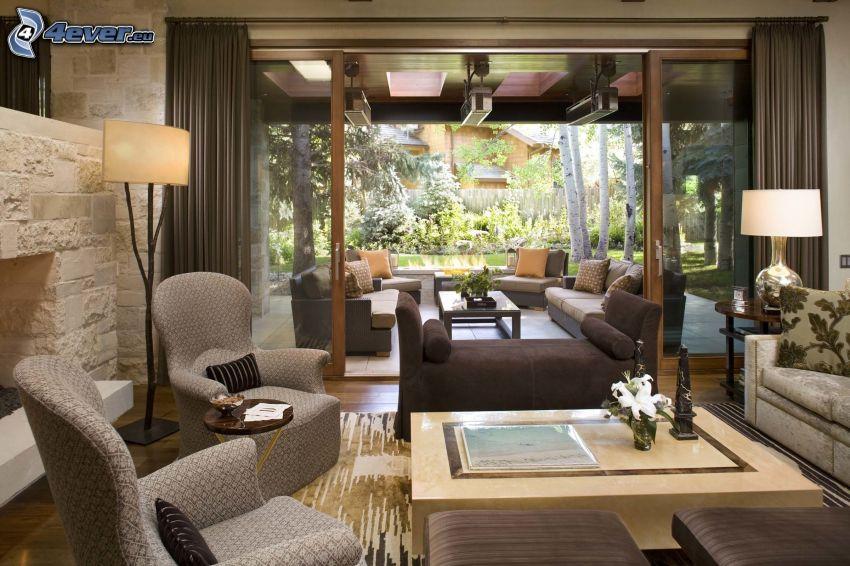 lyxigt vardagsrum, säte, fåtöljer, utsikt