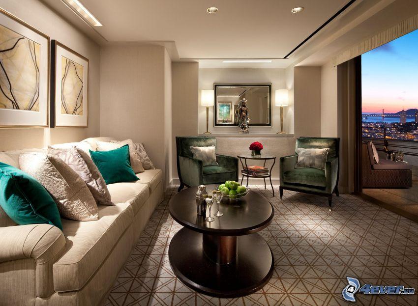 lyxigt vardagsrum, säte, fåtöljer