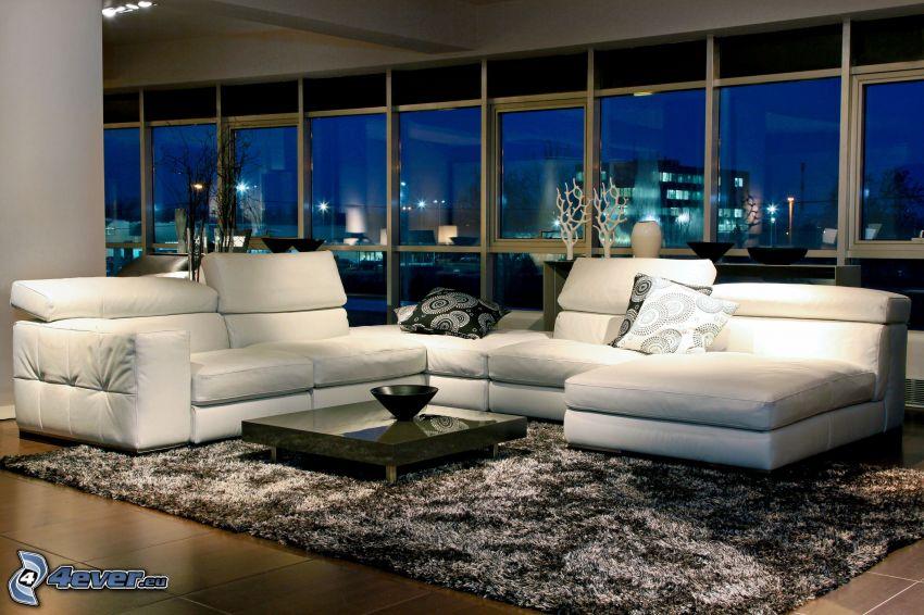 lyxigt vardagsrum, säte, fönster, natt