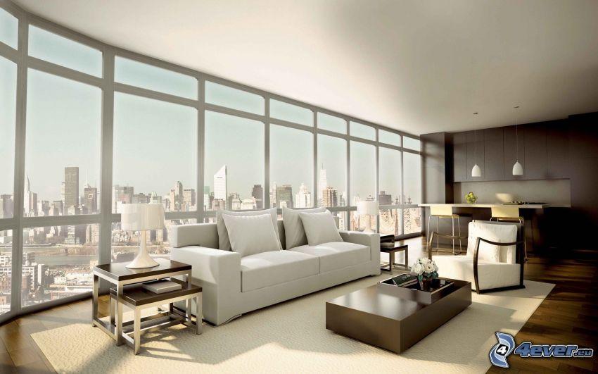 lyxigt vardagsrum, säte, stadsutsikt