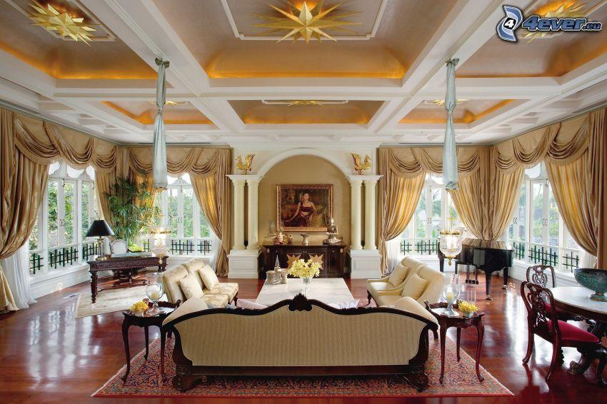 lyxigt vardagsrum, säte