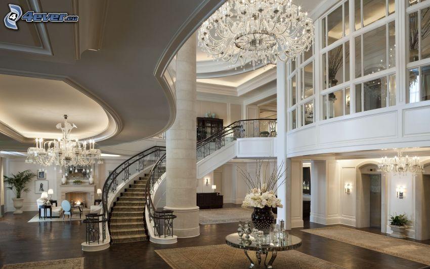 lyxigt vardagsrum, snurrande trappor, villa, interiör