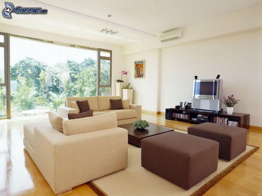 lyxigt vardagsrum, soffa, TV