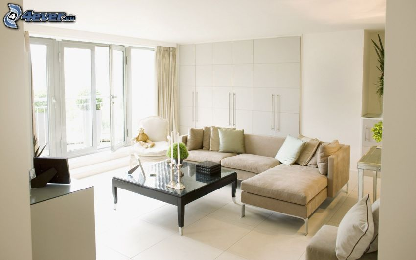 lyxigt vardagsrum, soffa