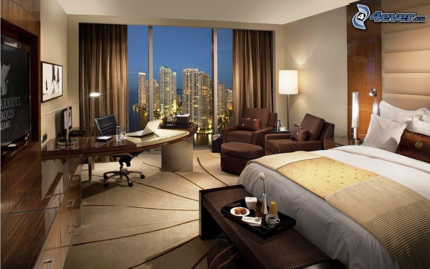 lyxigt vardagsrum, sovrum, säng, stadsutsikt