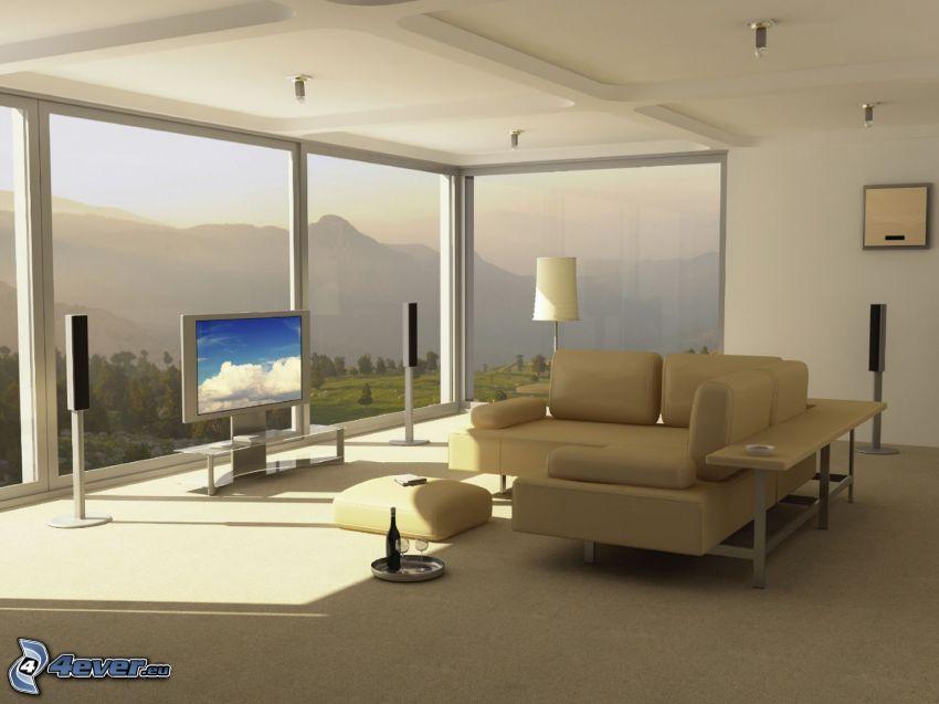 lyxigt vardagsrum, utsikt