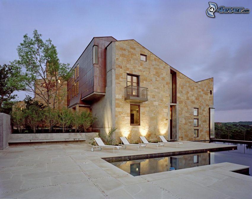 modernt hus, Texas, solstolar, vatten, belysning, träd
