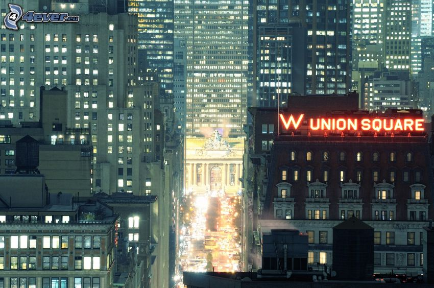 Park Avenue, natt, skyskrapor