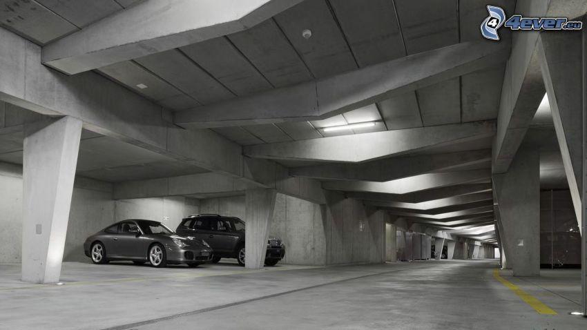 parkering, bilar, garage