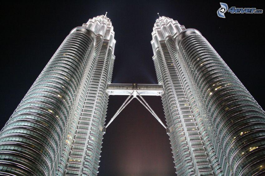 Petronas Towers, Kuala Lumpur, nattstad, skyskrapor