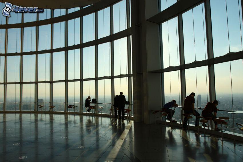 skyskrapa, interiör, människor, utsikt