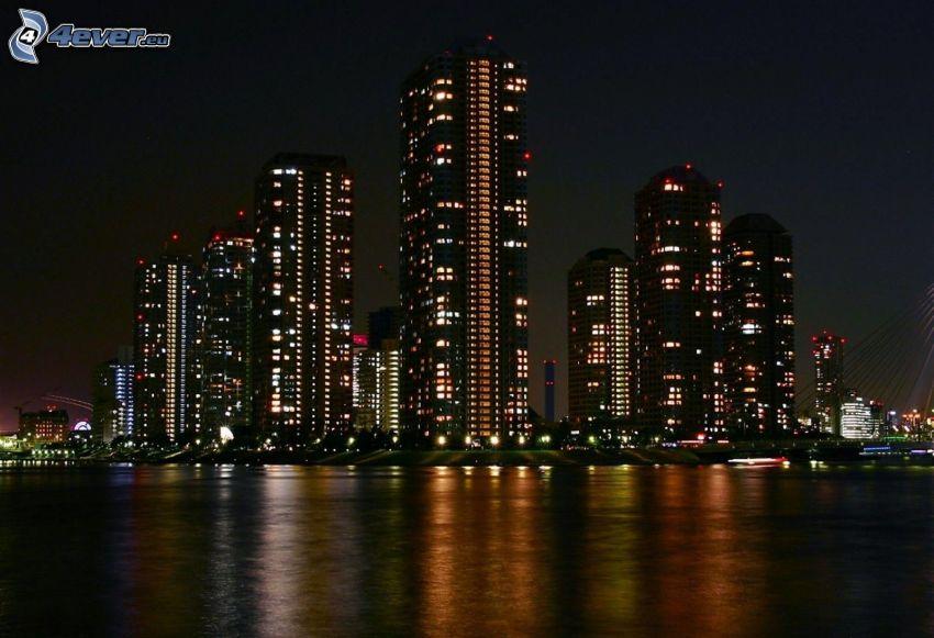 skyskrapor, natt