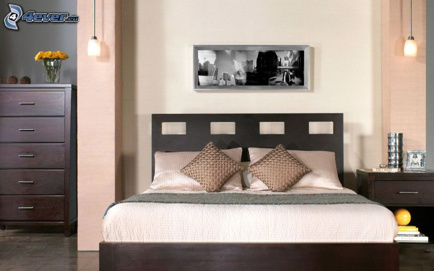 sovrum, dubbelsäng, bild, skåp