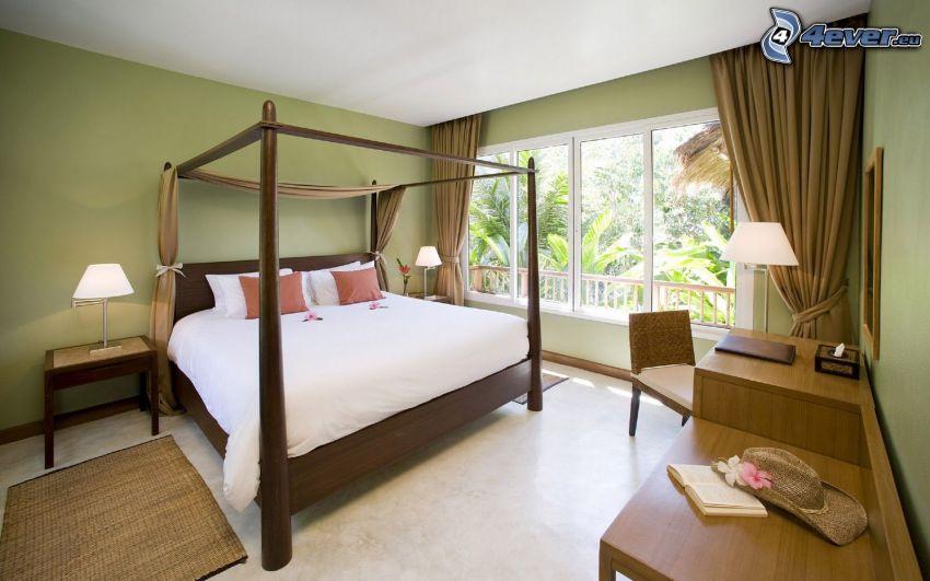 sovrum, dubbelsäng, fönster, nattduksbord
