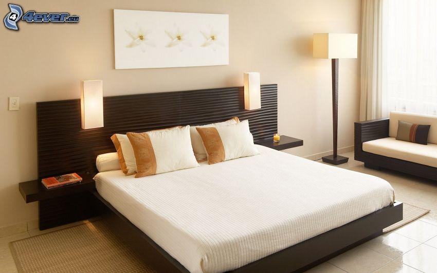 sovrum, dubbelsäng, lampor