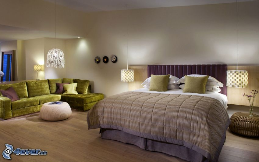 sovrum, dubbelsäng, soffa, ljus