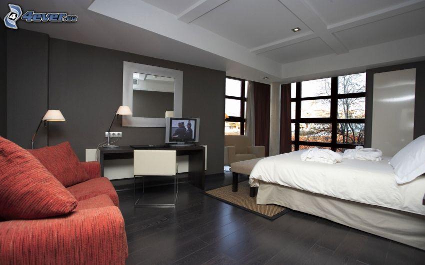 sovrum, dubbelsäng, TV, soffa, fönster