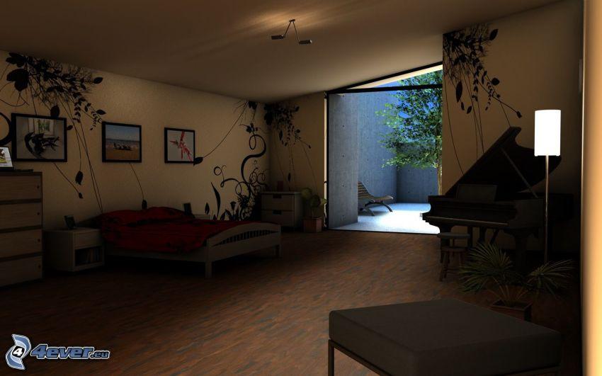 sovrum, säng, piano