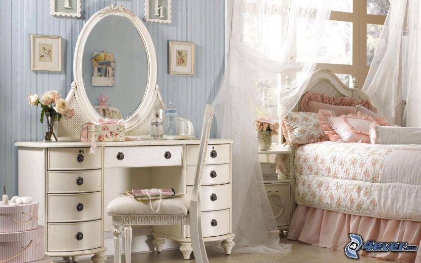 sovrum, säng, spegel