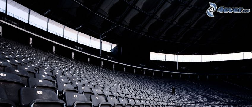 stadion, stolar, svartvitt foto