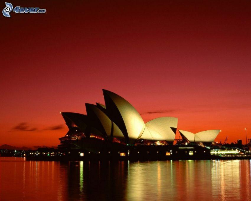 Sydney Opera House, röd himmel